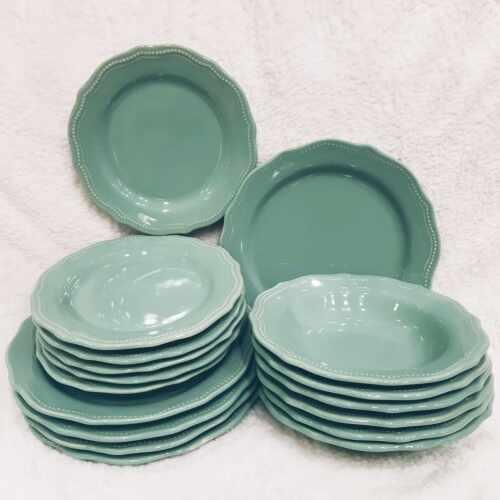 Set 18 farfurii Royal Turcoaz din ceramica la pret 329 lei