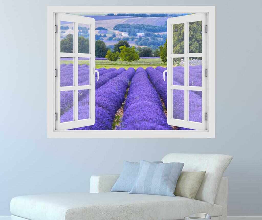 Sticker 3D Window Lavender Field Provence la pret 59.99 lei