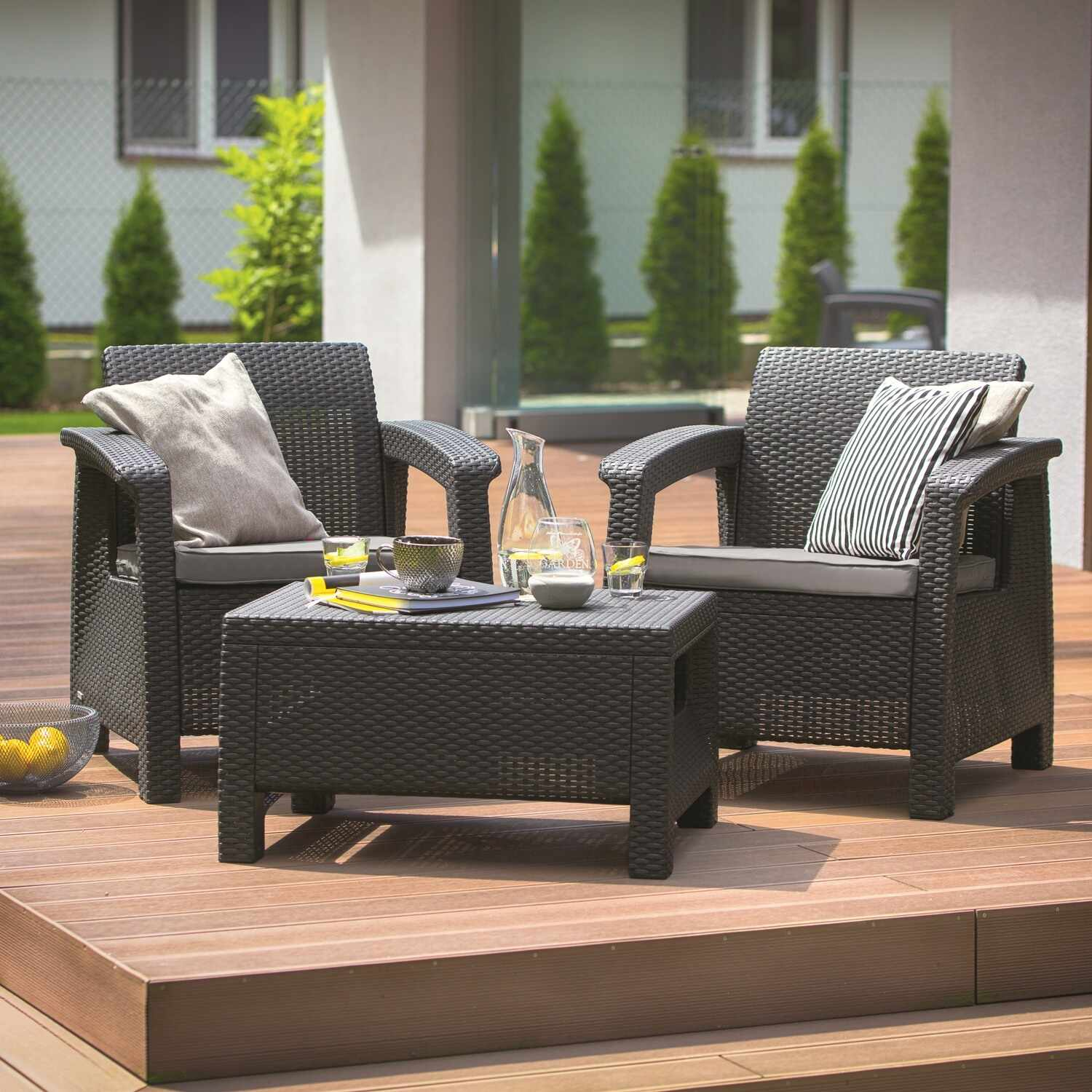 Set mobilier gradina graphite Keter Corfu Weekend