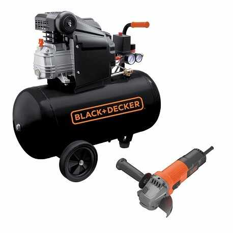 Compresor orizontal Black+Decker 50l 2CP 8bar 210l/min + Polizor unghiular Black+Decker 750W 115mm – BD 205/50+BEG110
