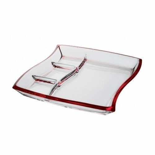 Platou patrat compartimentat Walther Glass Cherry Red 33cm