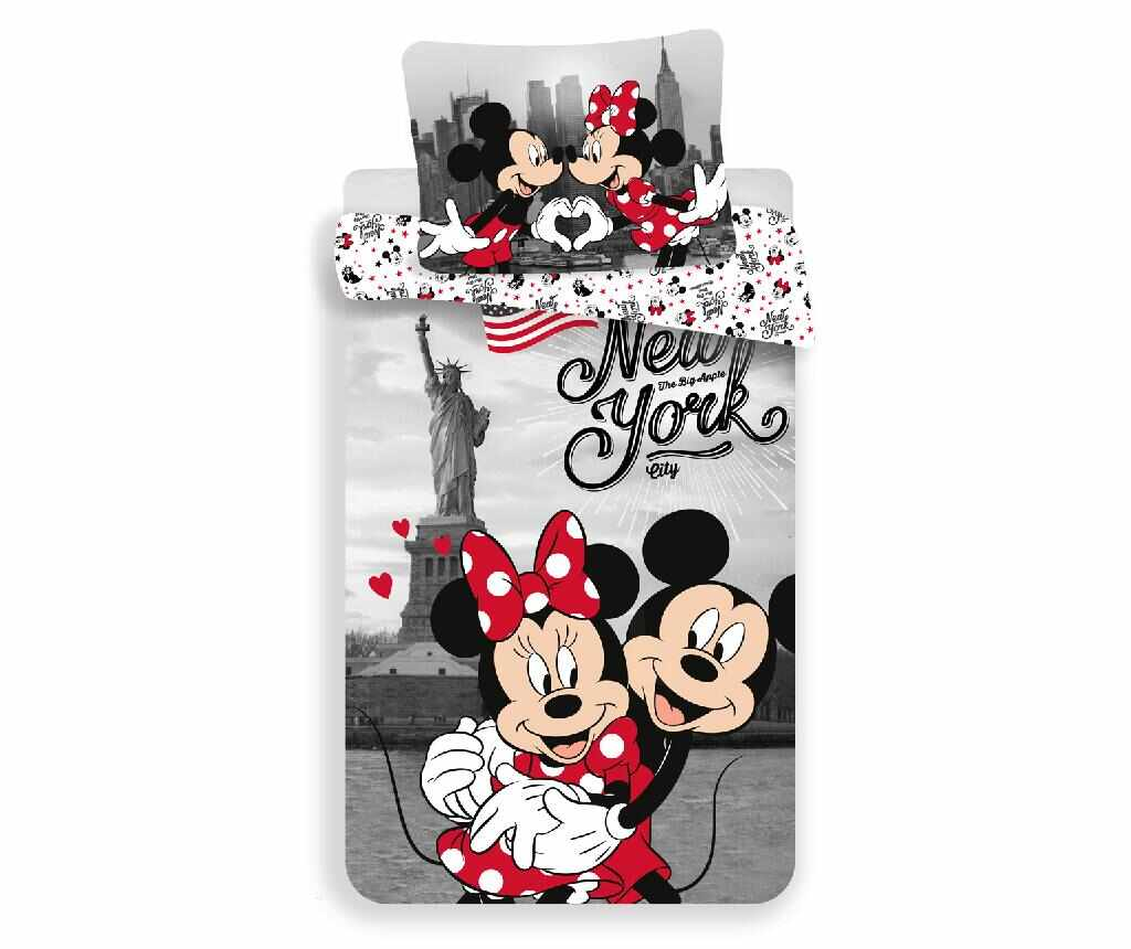 Set de pat Single Ranforce Minnie and Mickey in New York la pret 99.99 lei