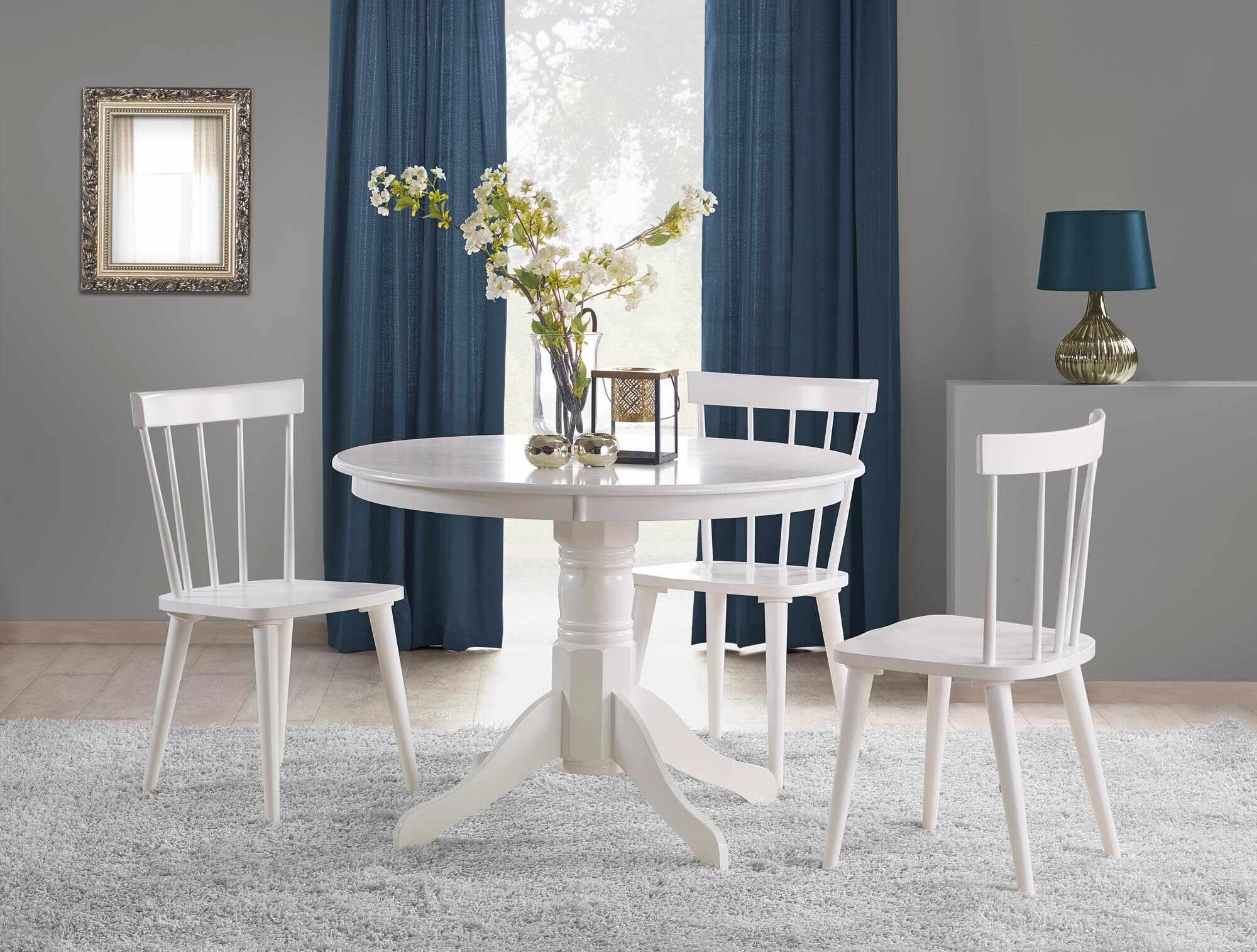 Set masa din MDF si lemn Gloster Alb + 4 scaune din lemn de cauciuc Barkley Alb, Ø106xH75 cm la pret 1783 lei