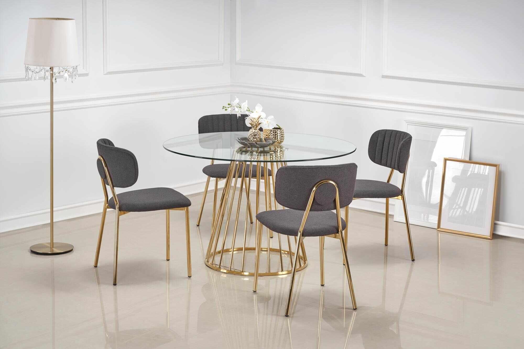 Set masa din sticla si metal Liverpool Transparent / Auriu + 4 scaune tapitate cu stofa K362 Gri / Auriu, Ø120xH75 cm la pret 3136 lei