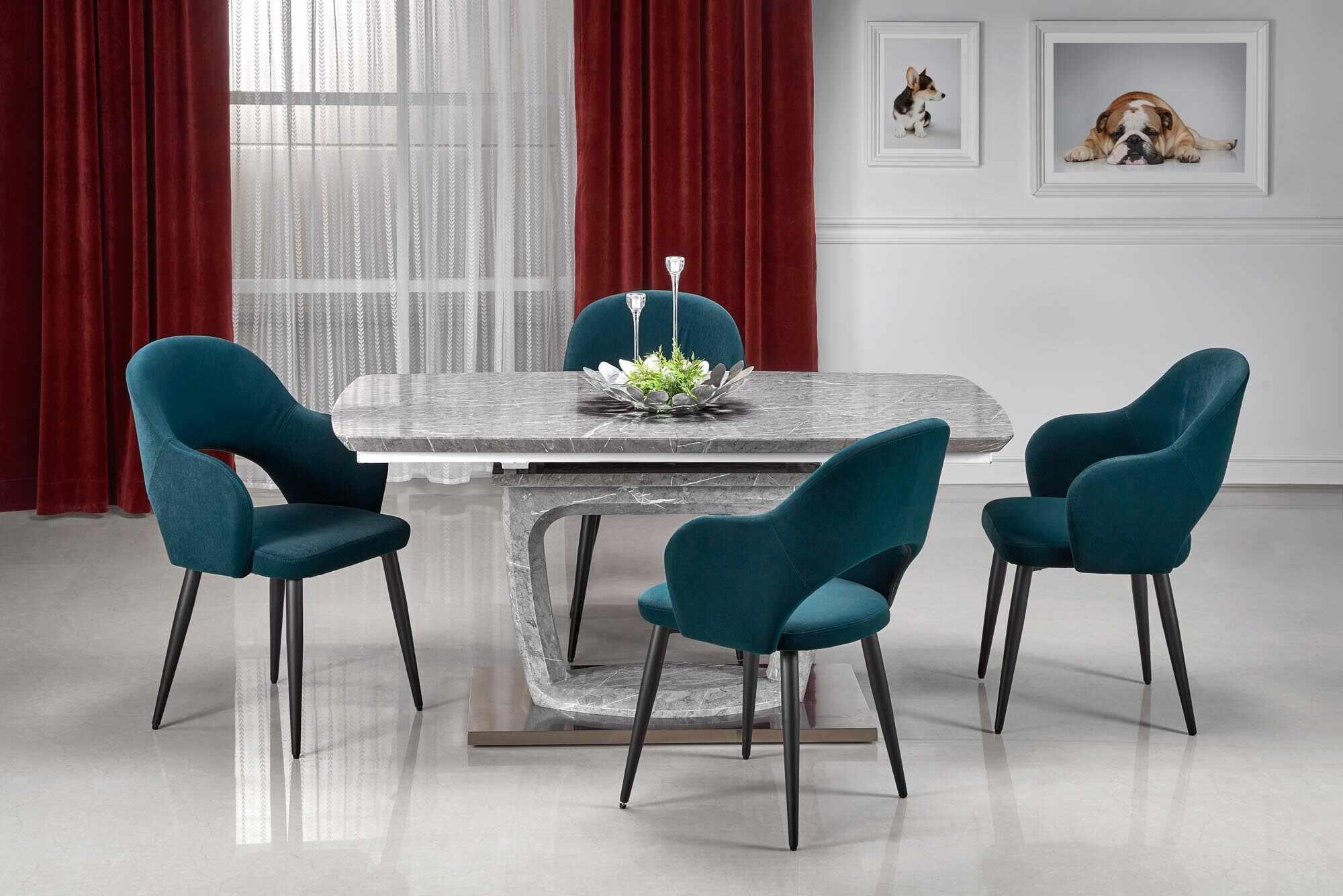 Set masa extensibila din MDF si metal Artemon Gri + 4 scaune tapitate cu stofa K364 Verde inchis / Negru, L160-220xl90xH76 cm la pret 4407 lei