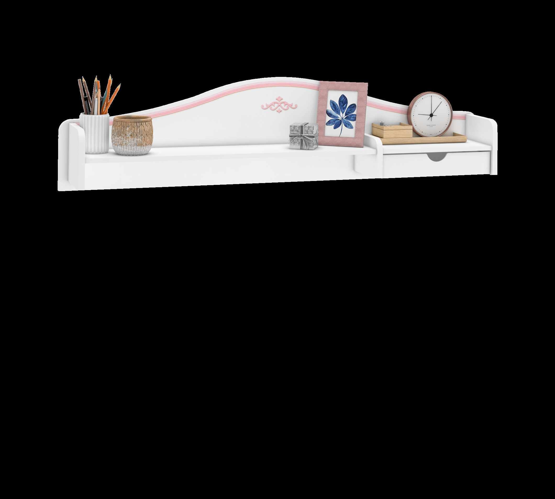 Etajera suspendata din pal, pentru tineret Selena Pink Alb / Roz, l120xA18xH33 cm la pret 242 lei