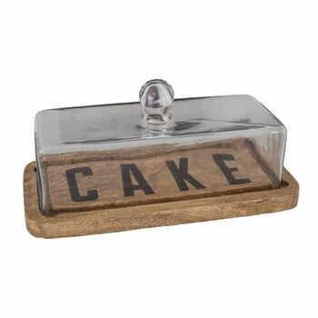 Platou din lemn pentru tort cu capac din sticlă Antic Line Cake la pret 262 lei