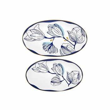 Set 2 farfurii din porțelan cu model de flori albastre Mia Bleu, alb la pret 153 lei