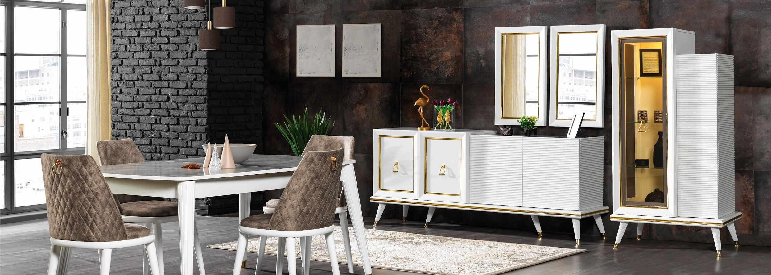 Set de mobila dining din pal si metal, 11 piese Toscana Alb / Auriu la pret 10732 lei