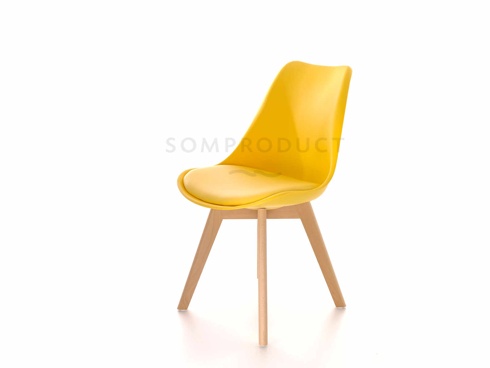 Scaun din plastic cu picioare din lemn si sezut tapitat cu piele ecologica Sven Yellow, l46xA43xH80 cm la pret 200 lei