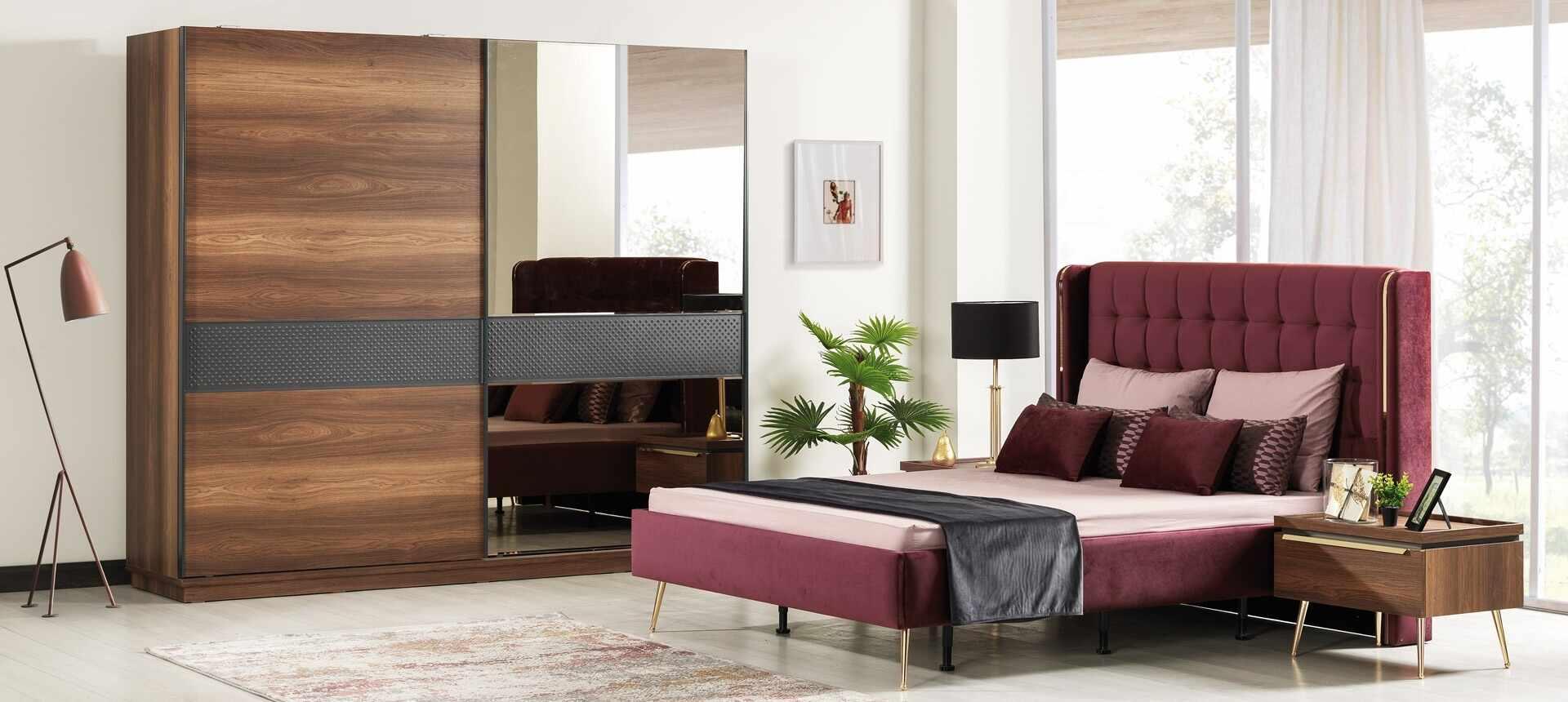 Set mobila dormitor din pal si metal, cu pat 200 x 160 cm, 6 piese Pietro Nuc / Auriu la pret 13840 lei