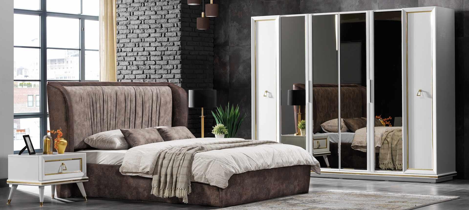 Set mobila dormitor din pal si metal, cu pat 200 x 160 cm, 6 piese Toscana Alb / Auriu la pret 13347 lei