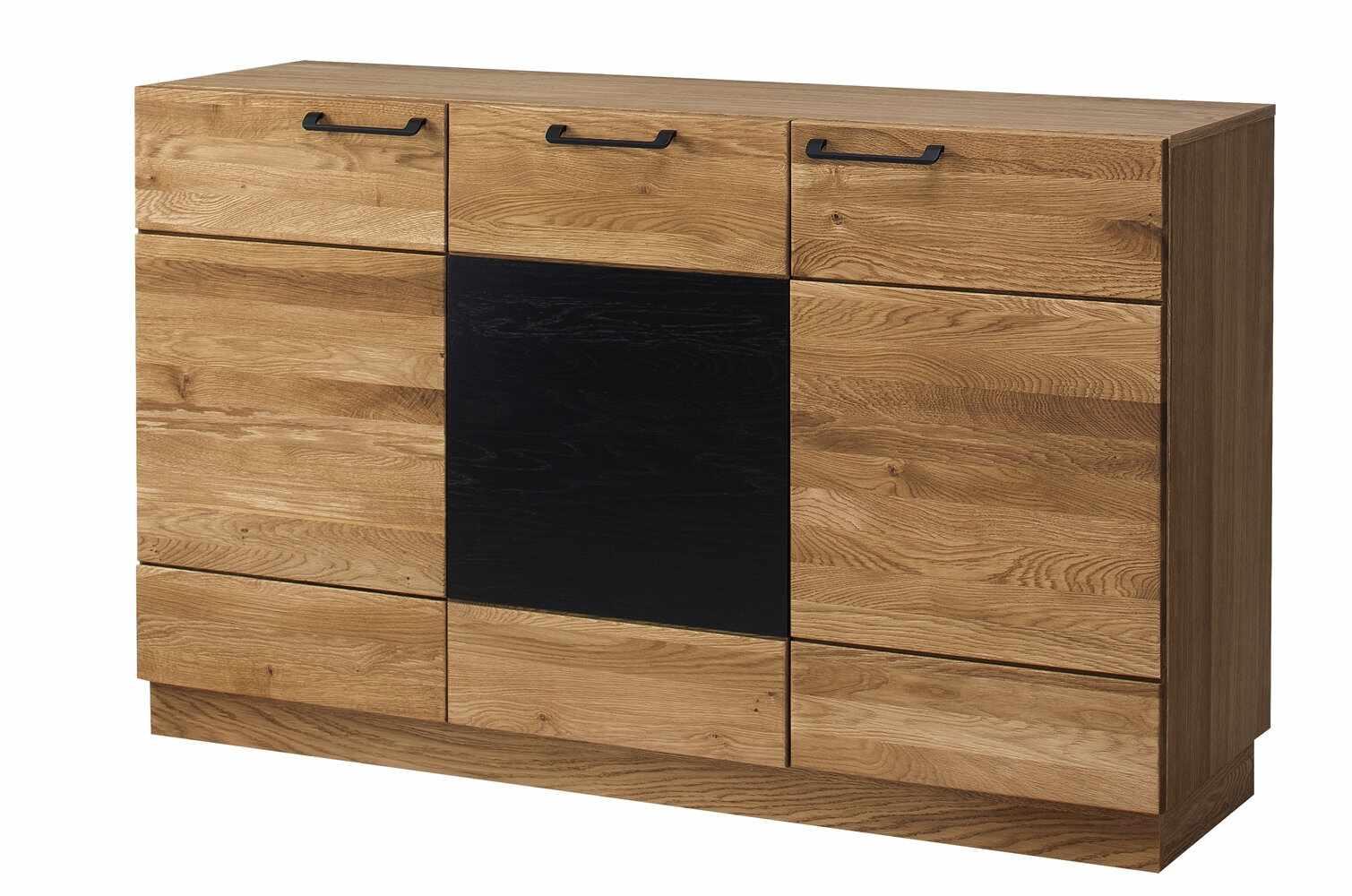 Comoda din lemn si furnir, cu 3 usi Mosaic 45 Stejar / Negru, l150xA42xH90 cm la pret 2985 lei