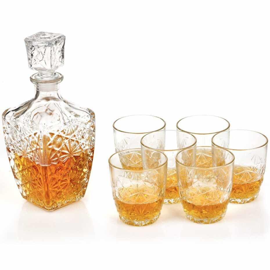Set whisky 7 pcs Bormioli Dedalo (decantor 790 ml + 6 pahare whisky 260 ml) la pret 69.91 lei