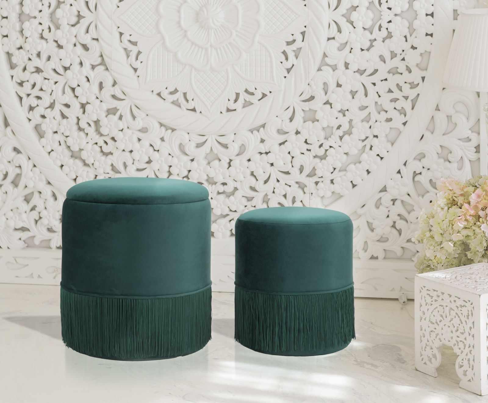Set 2 taburete tapitate cu stofa Lines Velvet Verde, Ø35xH42 / Ø30xH32 cm la pret 461 lei