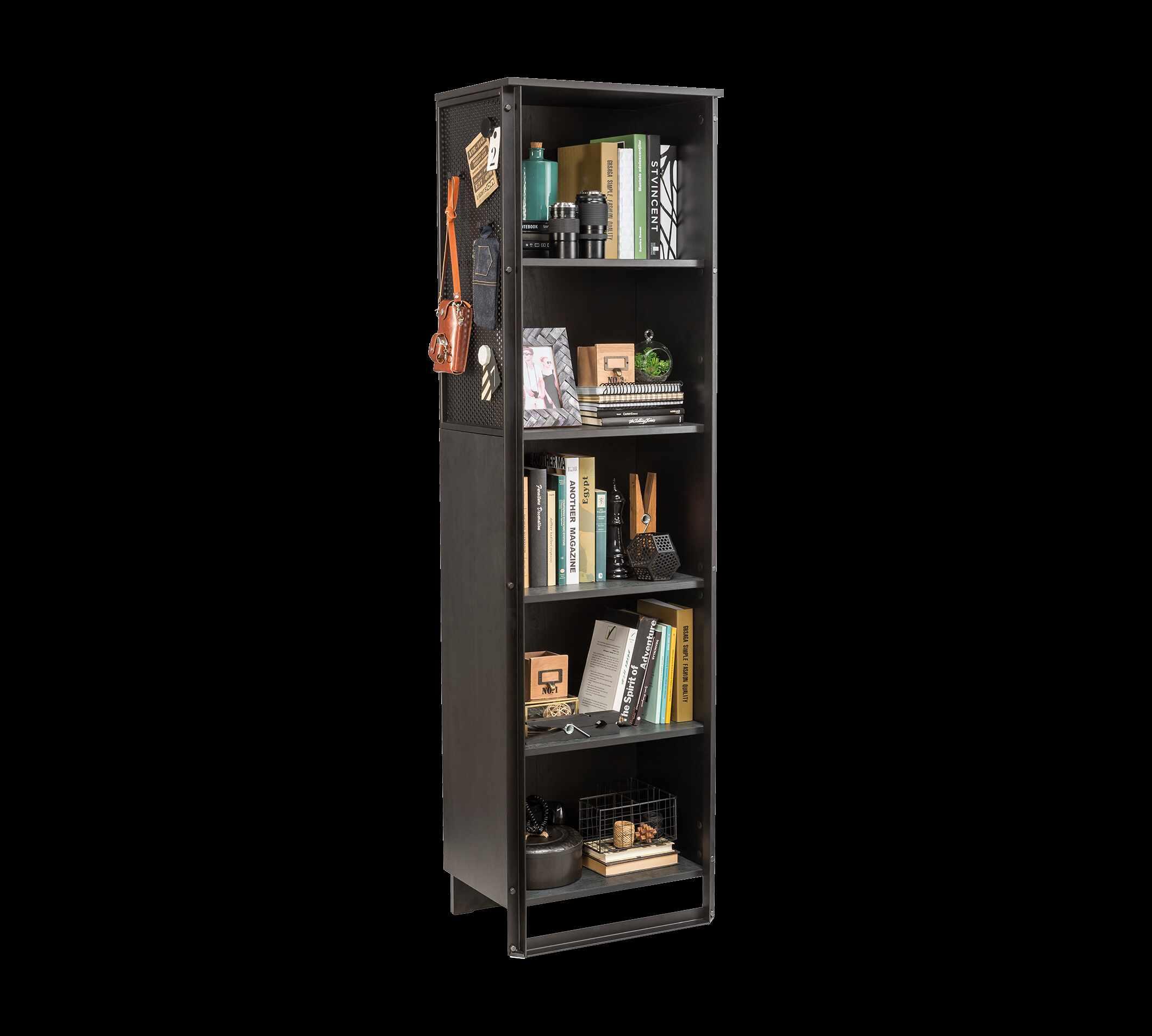 Biblioteca din pal si metal pentru tineret Dark Metal New Black / Graphite, l53xA35xH180 cm la pret 963 lei