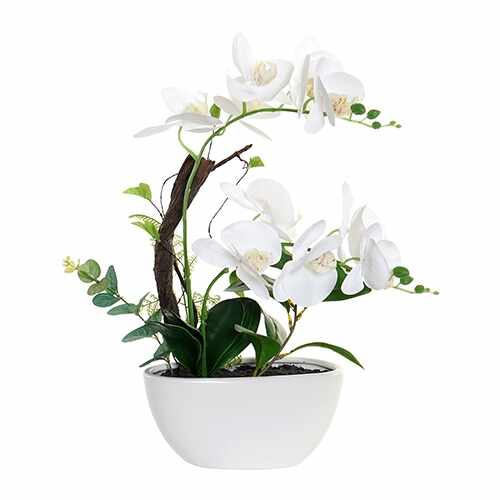 Floare decorativa Orhidee alba 48 cm la pret 279 lei