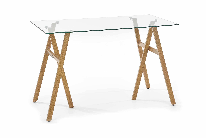 Masa de birou din sticla si metal B-35 Transparent / Stejar, L120xl60xH76 cm la pret 353 lei