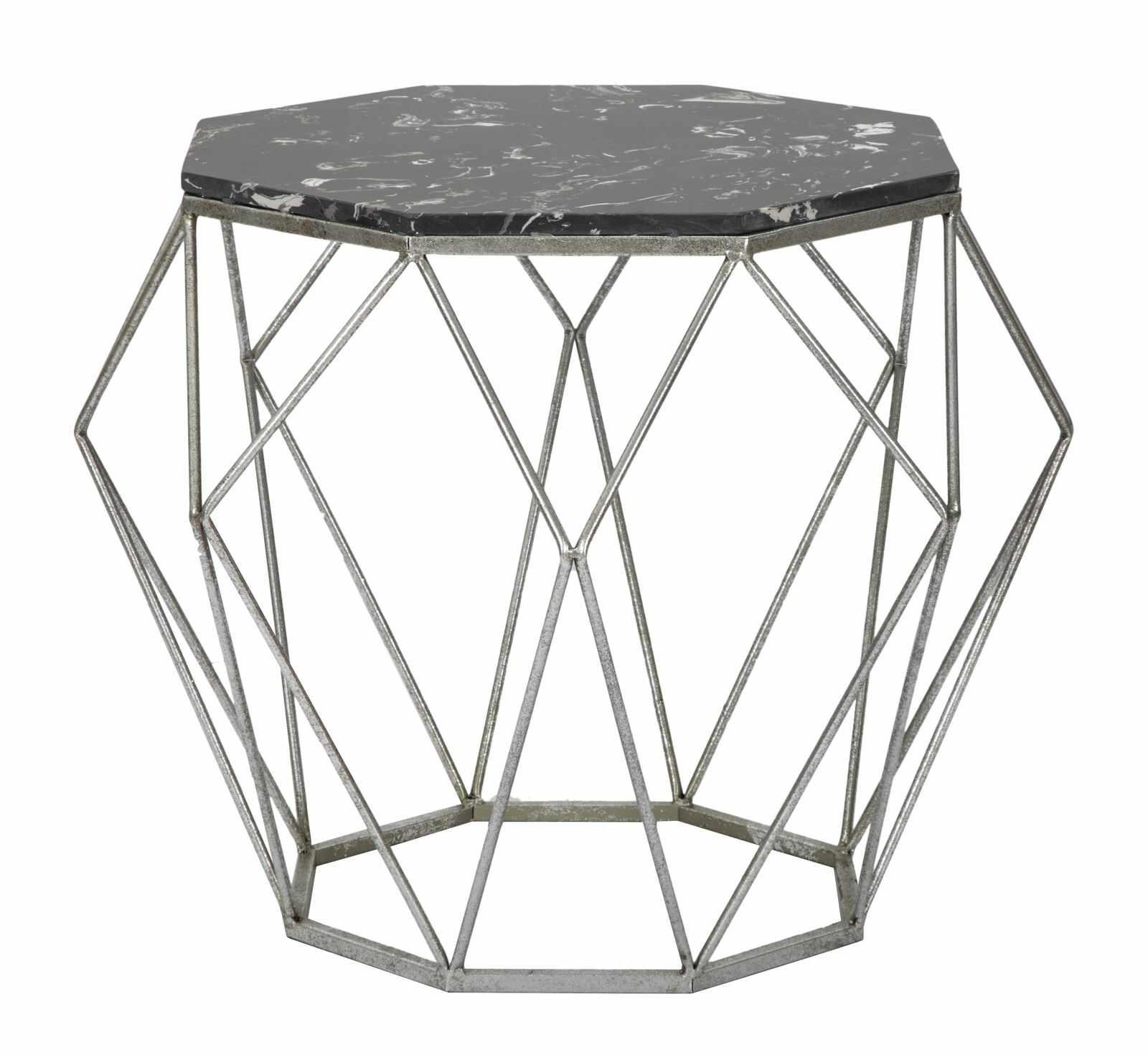Masa de cafea din metal Diamond Marble Negru, Ø68xH52 cm la pret 788 lei