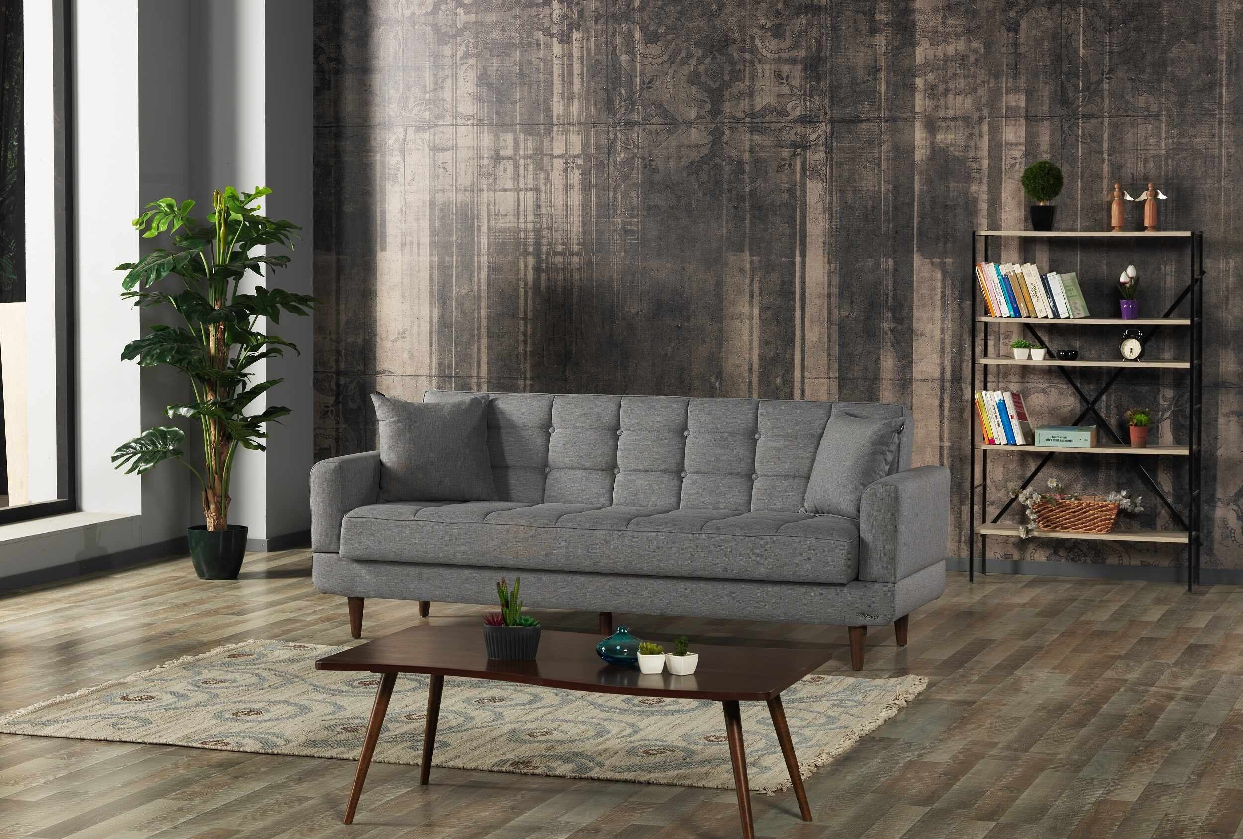Canapea extensibila cu lada de depozitare, tapitata cu stofa 3 locuri New Jersey Gri, l220xA84xH86 cm la pret 2016 lei