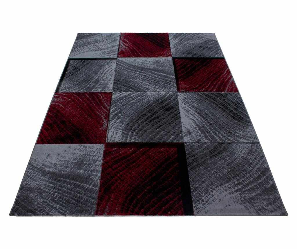 Covor Plus Waved Squares Red 120x170 cm