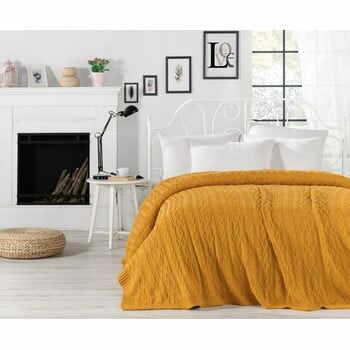 Cuvertură ușoară Knit, 220 x 240 cm, galben muștar la pret 668 lei