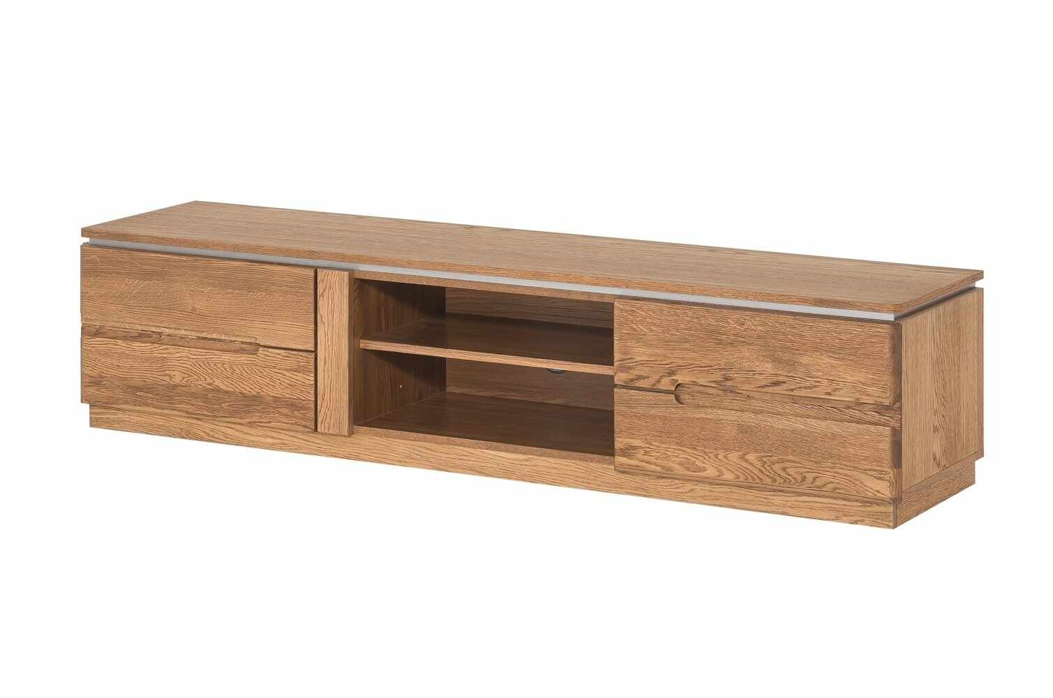 Comoda TV din lemn si furnir, cu 2 usi Montenegro 25 Medium Stejar Rustic, l163xA42xH38 cm la pret 1488 lei