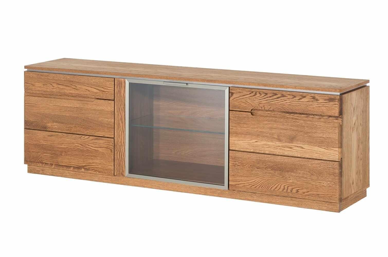 Comoda TV din lemn si furnir, cu 3 usi Montenegro 26 Large Stejar Rustic, l180xA42xH59 cm la pret 2376 lei