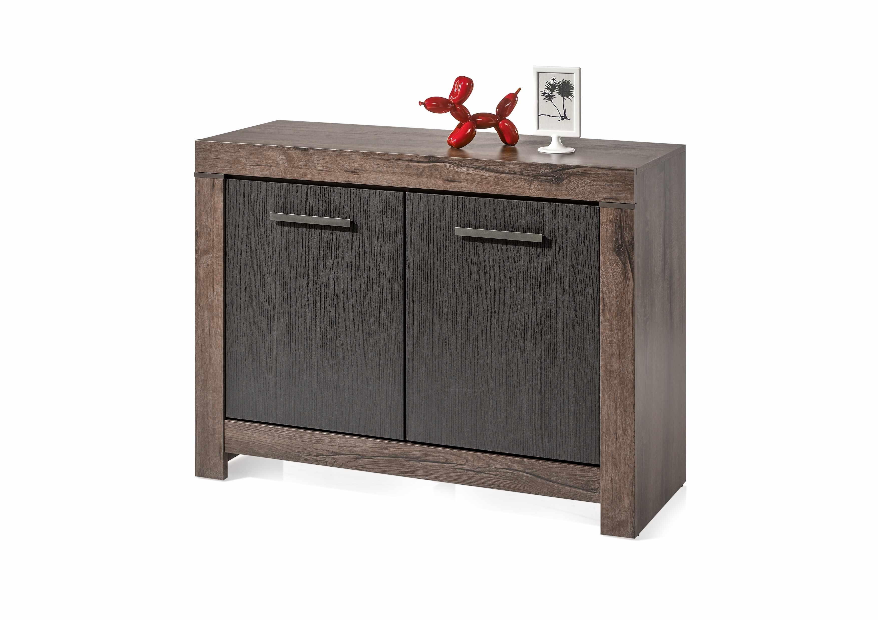 Cabinet din pal, cu 2 usi Blake Stejar Negru / Stejar, l112xA45xH85 cm la pret 613 lei