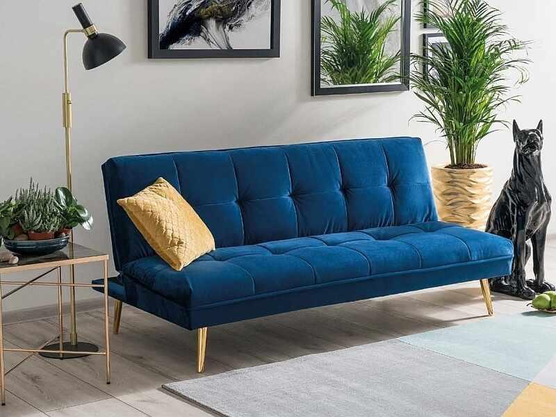 Canapea extensibila tapitata cu stofa, 3 locuri Moritz Velvet Albastru Inchis / Auriu, l181xA88xH80 cm la pret 1005 lei