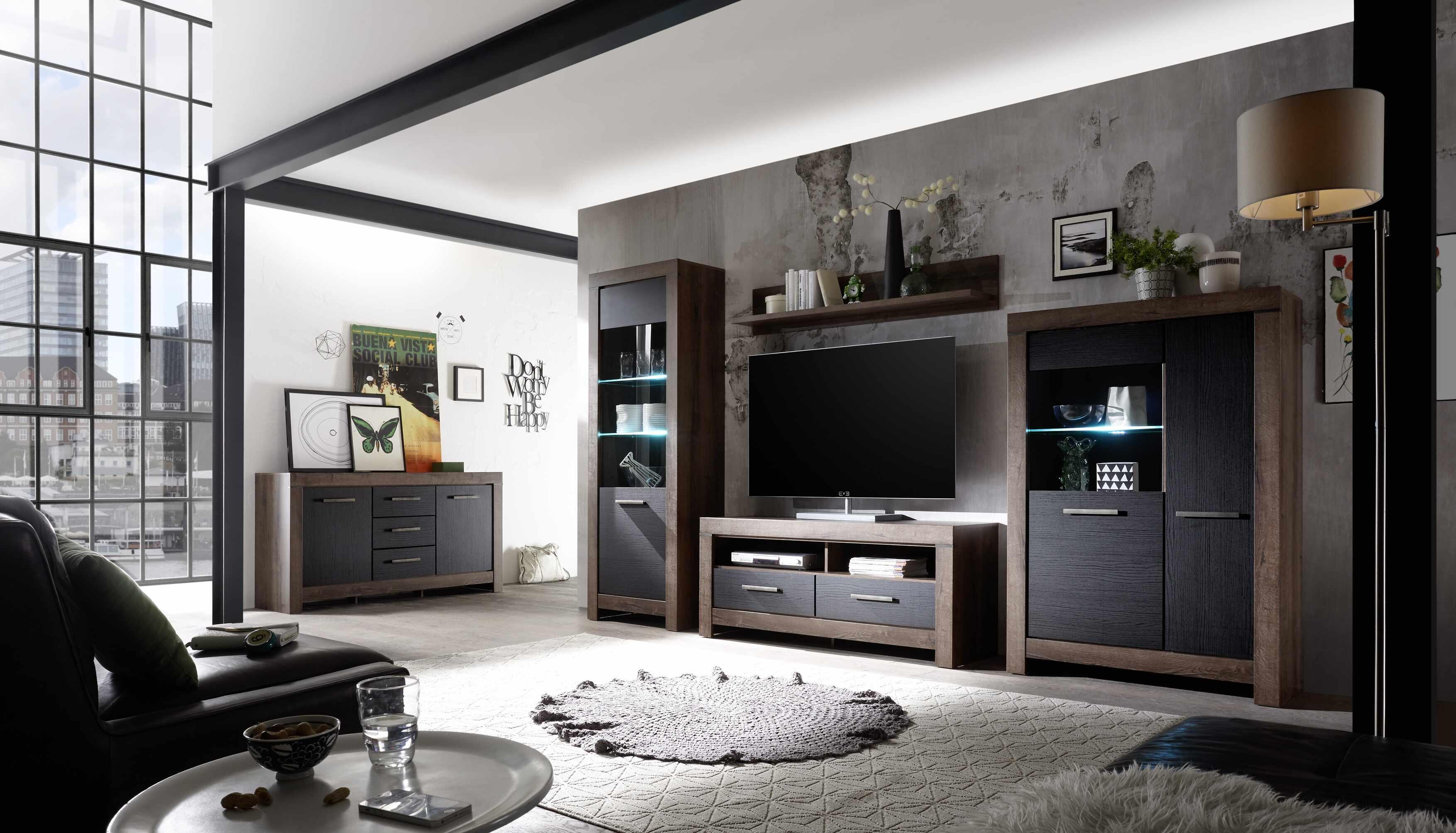 Set de mobila living din pal, 5 piese Blake Stejar Negru / Stejar la pret 3155 lei