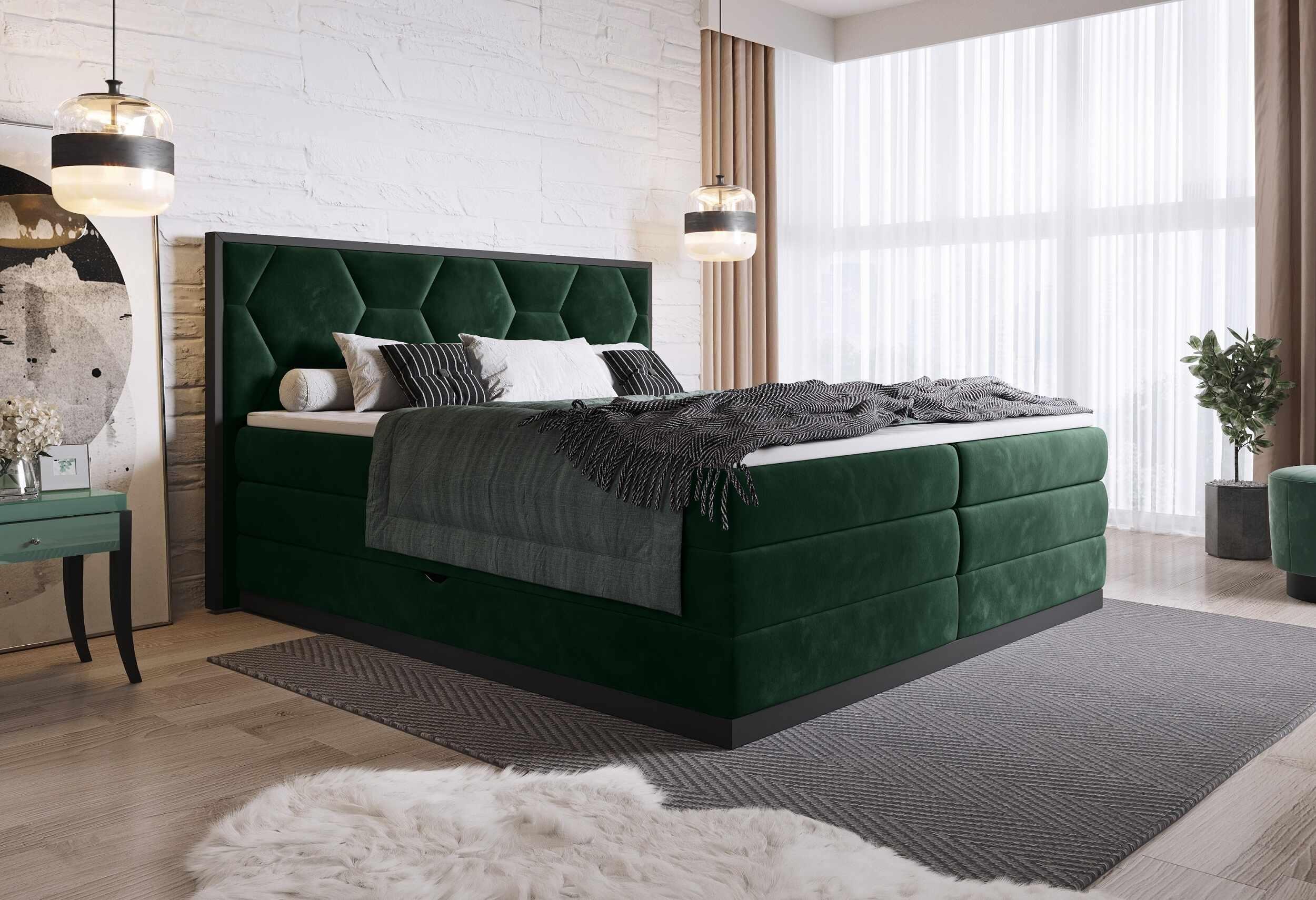Pat rabatabil cu lada de depozitare, tapitat cu stofa Galia Boxspring Verde inchis, topper inclus, 200 x 180 cm la pret 6268 lei