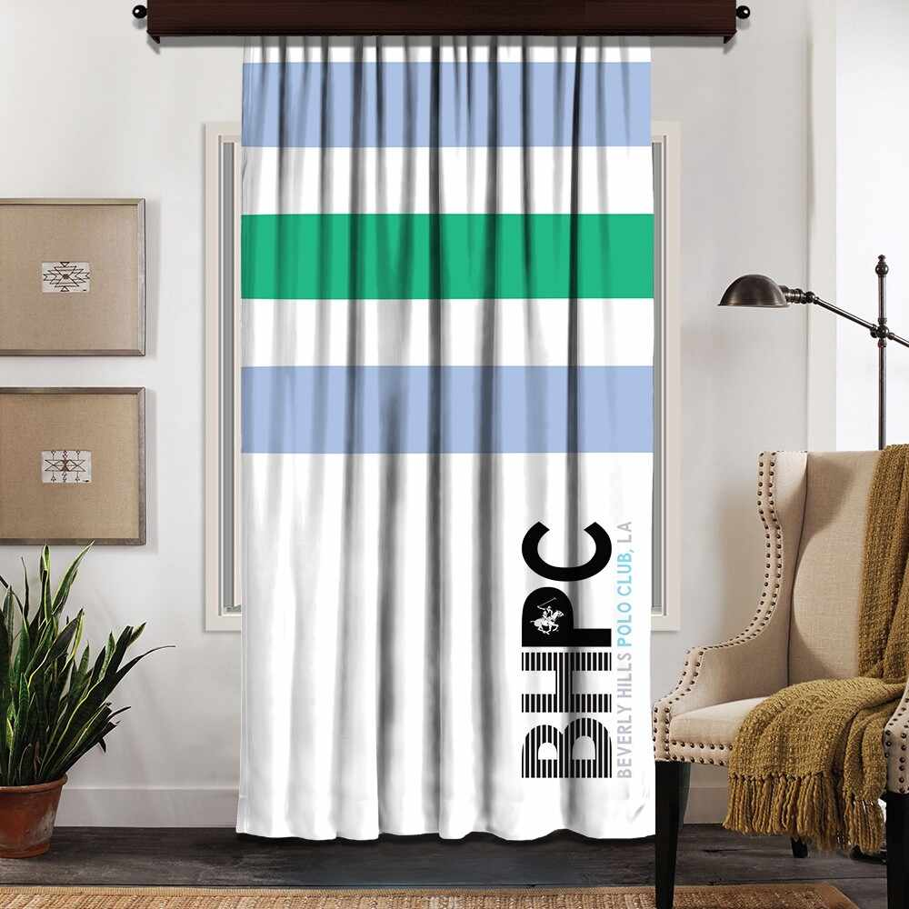 Draperie Beverly Hills Polo Club Crt 07-6 Bleu / Verde / Alb, 140 x 260 cm la pret 155 lei