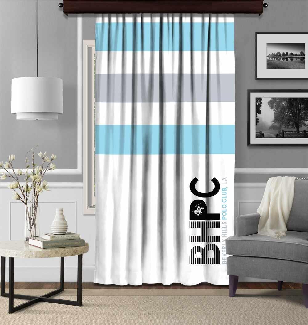 Draperie Beverly Hills Polo Club Crt 07 Bleu / Alb / Gri, 140 x 260 cm la pret 209 lei