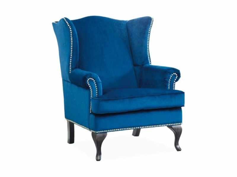Fotoliu fix tapitat cu stofa si picioare din lemn Benjamin I Velvet Albastru inchis, l82xA93xH103 cm la pret 1395 lei