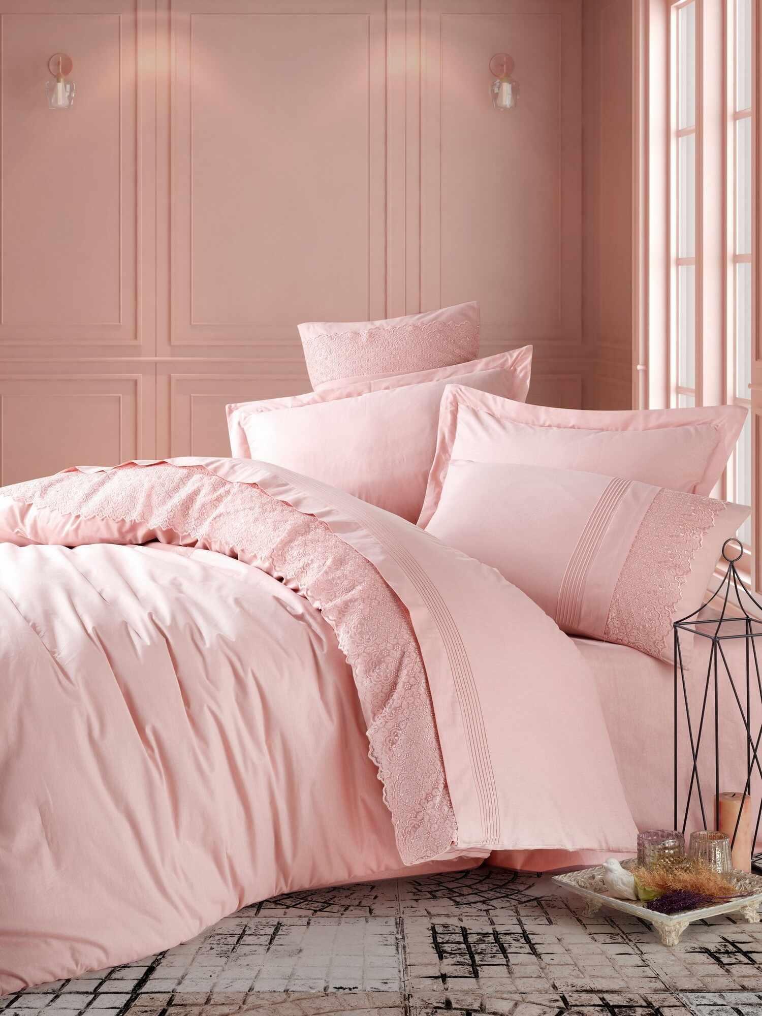 Lenjerie de pat din bumbac Ranforce Elba Roz, 200 x 220 cm la pret 333 lei