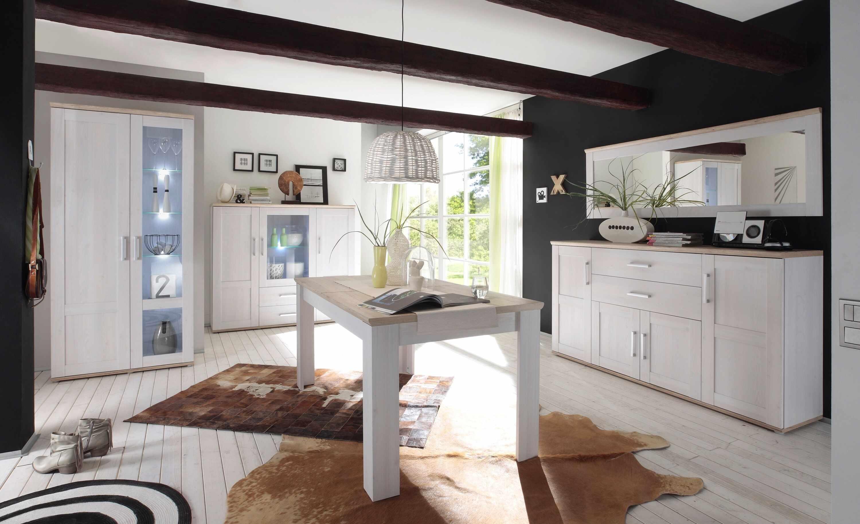 Set de mobila dining din pal, 5 piese Romina Alb / Stejar San Remo la pret 4644 lei