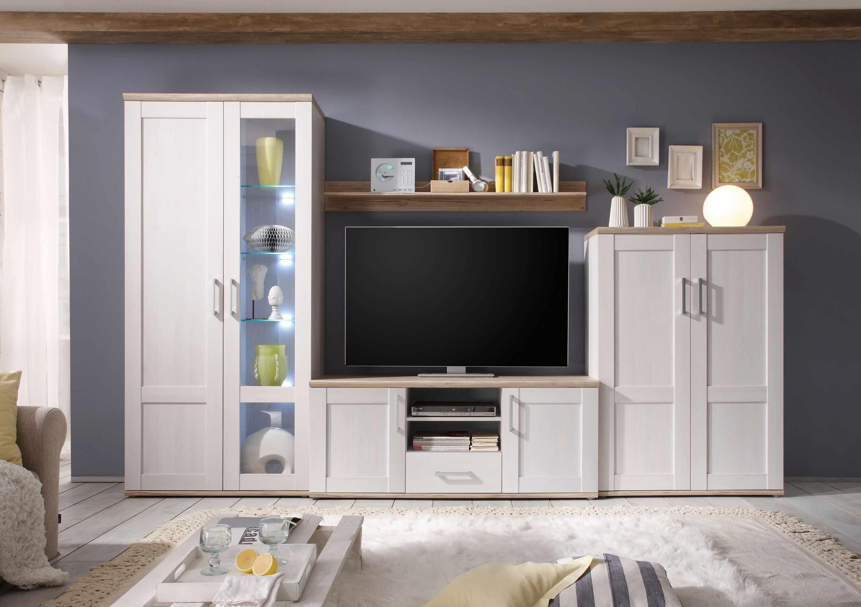 Set de mobila living din pal, 4 piese Romina Alb / Stejar San Remo la pret 2685 lei