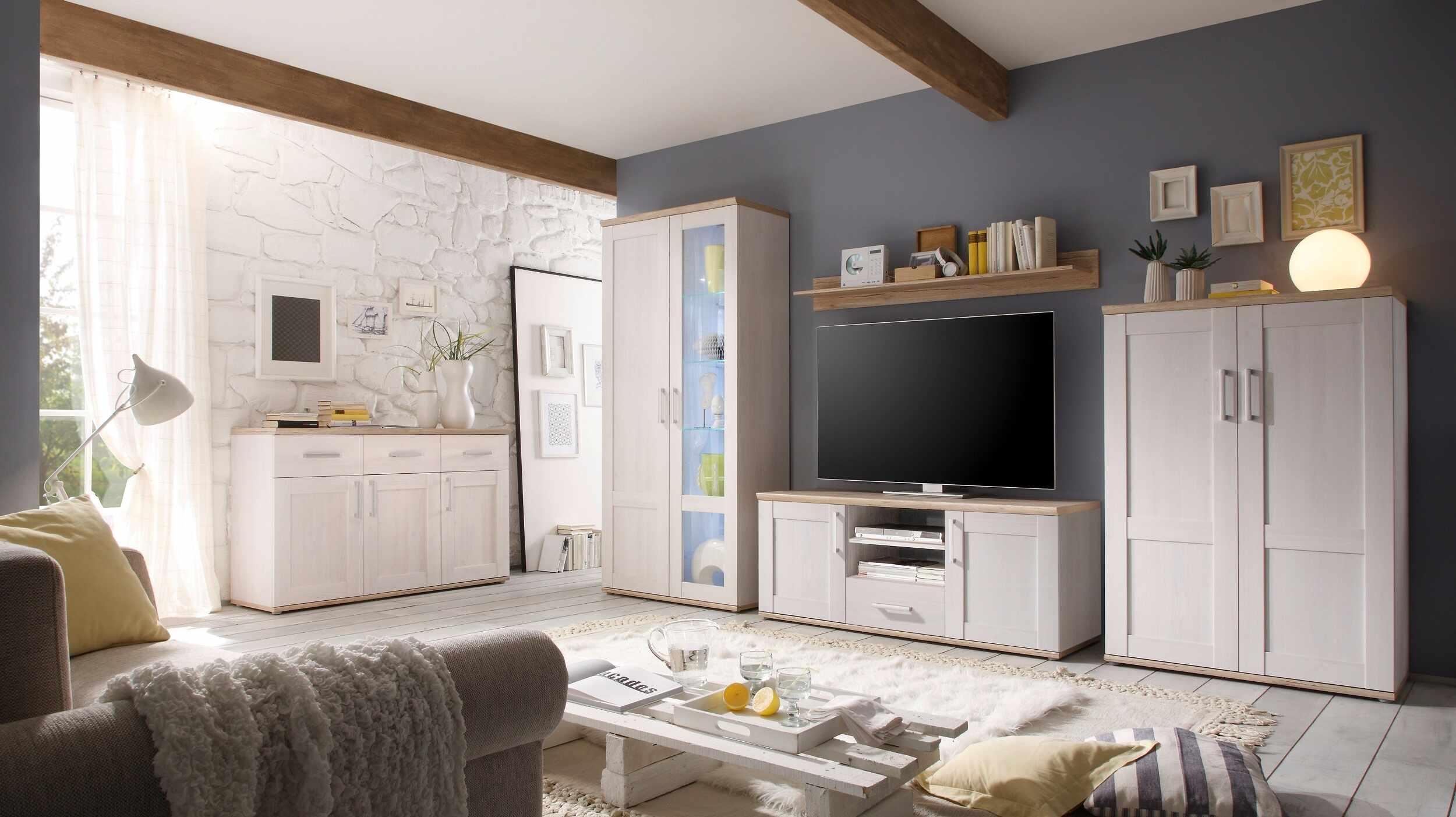 Set de mobila living din pal, 5 piese Romina Alb / Stejar San Remo la pret 3565 lei
