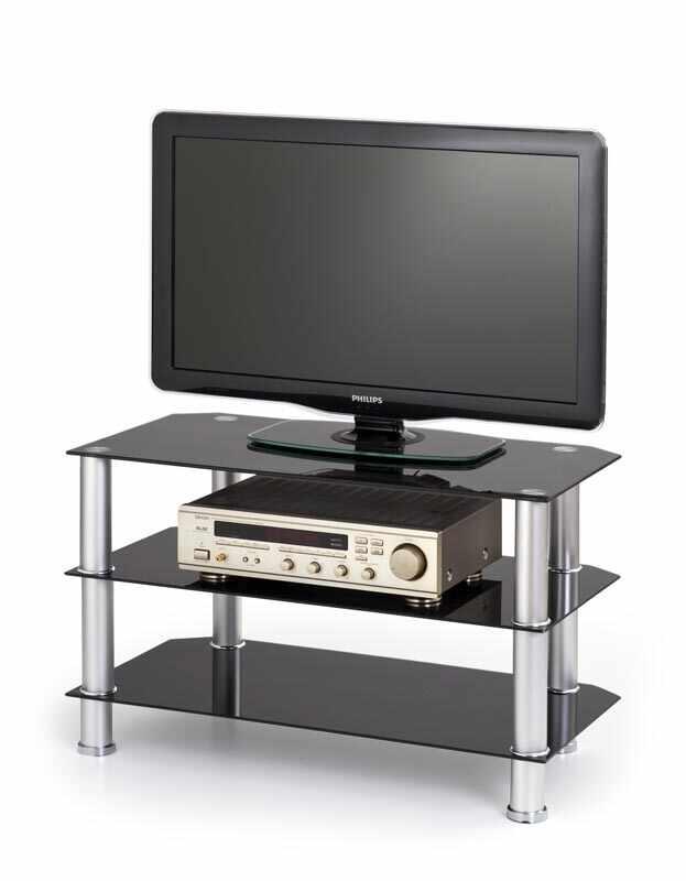 Comoda TV din sticla si metal RTV-21 Negru, l80xA40xH50 cm la pret 197 lei