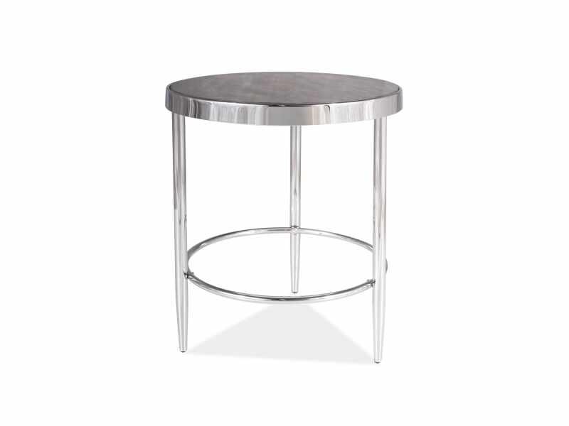 Masa de cafea din sticla si metal Aurora C Maro / Crom, Ø42xH48 cm la pret 312 lei