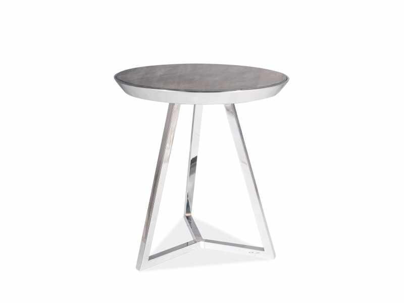 Masa de cafea din sticla si metal Temida C Maro / Crom, Ø42xH46 cm la pret 337 lei