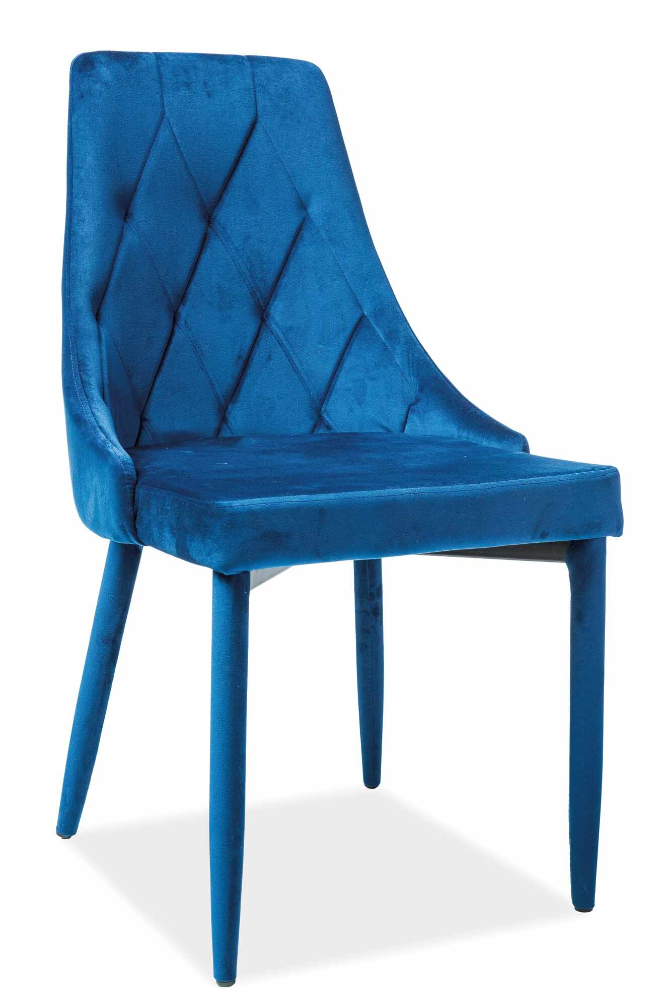 Scaun tapitat cu stofa si picioare metalice Trix Velvet Bleumarin, l46xA46xH88 cm la pret 288 lei