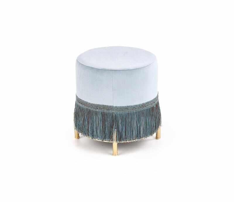 Taburet tapitat cu stofa si picioare metalice Cosby Albastru deschis / Auriu, Ø39xH39 cm la pret 230 lei