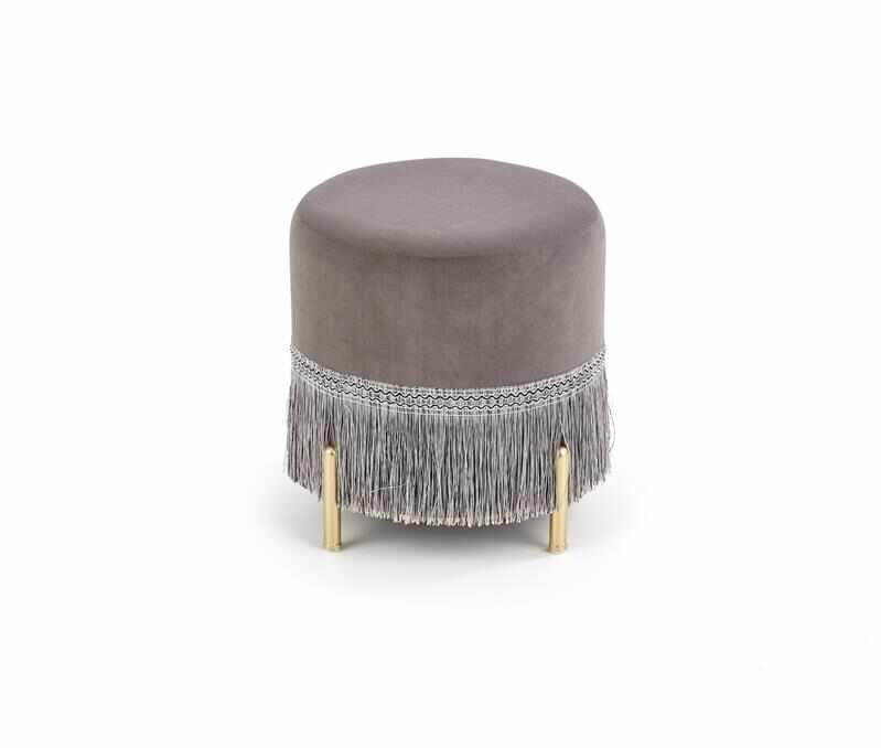 Taburet tapitat cu stofa si picioare metalice Cosby Gri / Auriu, Ø39xH39 cm la pret 229 lei