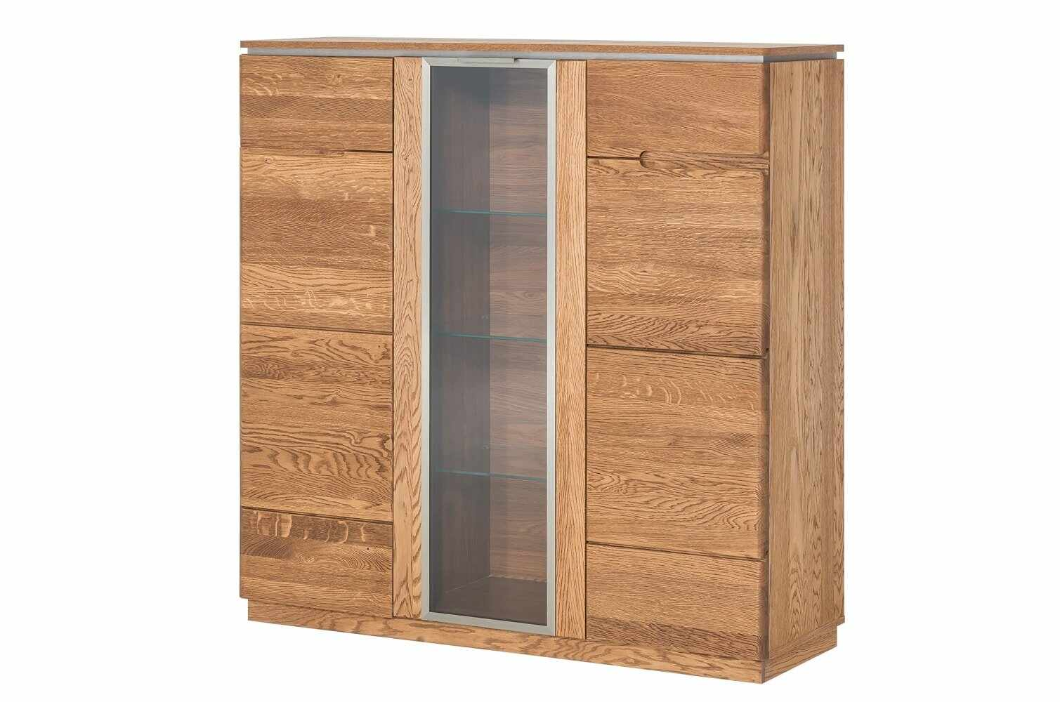 Dulap cu vitrina din lemn si furnir, cu 3 usi Montenegro 48 Stejar Rustic, l120xA42xH125 cm la pret 3225 lei