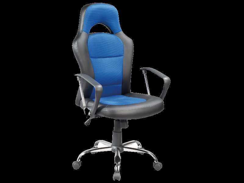 Scaun gaming tapitat cu piele ecologica si stofa Q-033 Albastru / Negru, l63xA50xH116-126 cm la pret 445 lei