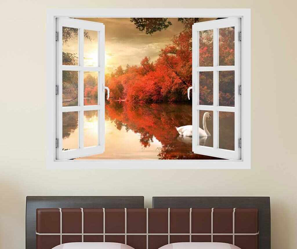 Sticker 3D Window Sunset Swan la pret 69.99 lei