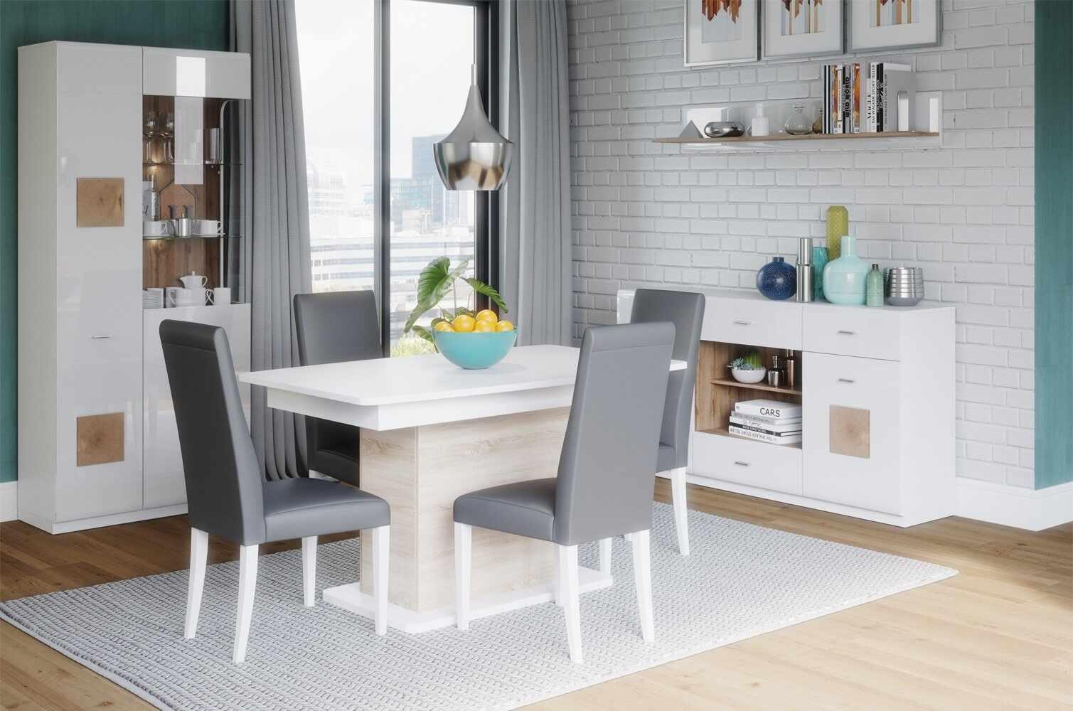 Set de mobila dining din pal, 4 piese Wood Alb / Stejar Wotan la pret 4033 lei