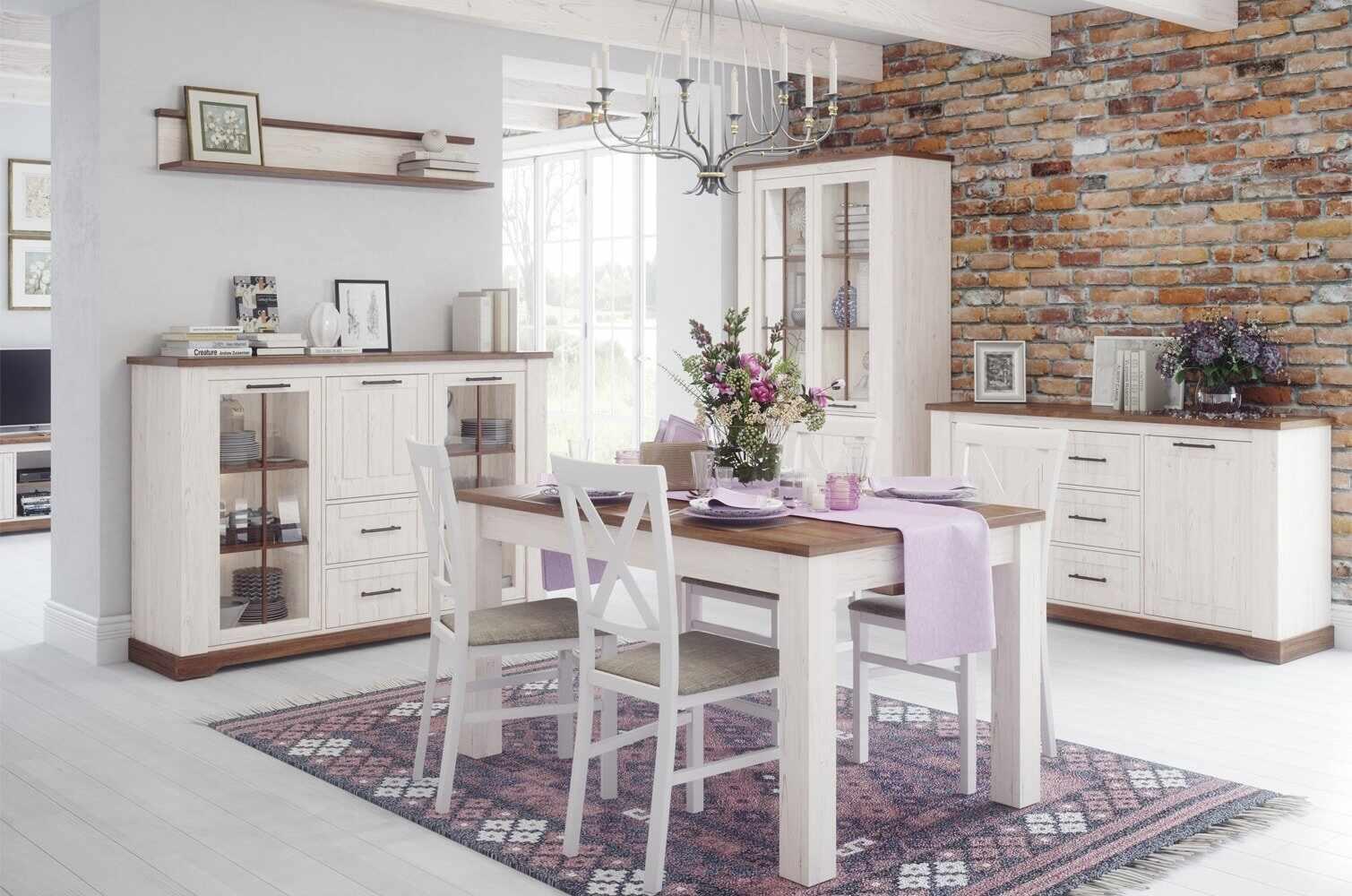 Set de mobila dining din pal, 5 piese Country Alb / Stejar la pret 6298 lei